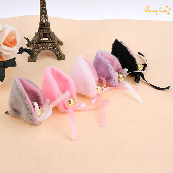 Cat Ear Hair Pins With Bells - Set of 2