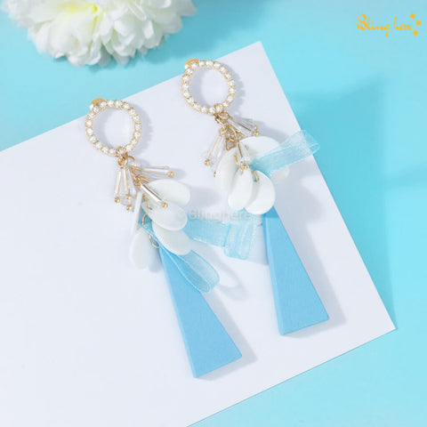 Korean Blue Harmony Earrings