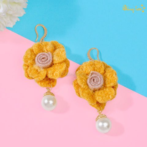 Korean Floral Pearl Earrings