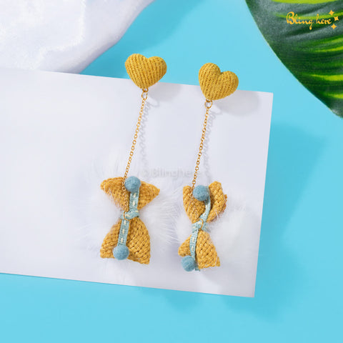 Korean Heart Bow Danglers
