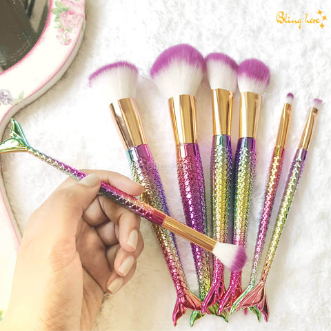 Mermaid Make Up Brushes - Set of 7