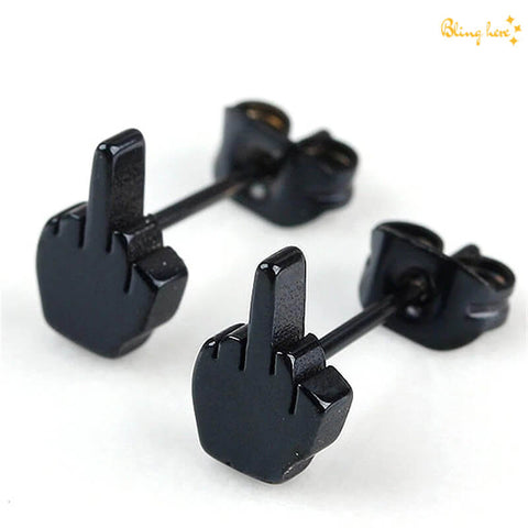 Middle Finger Stud Earrings