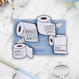 Toilet Paper Metallic Lapel Pins - Set of 4