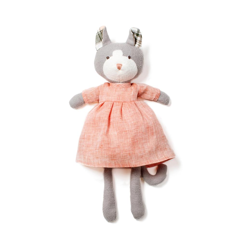 Gracie Cat in Blush Linen Dress