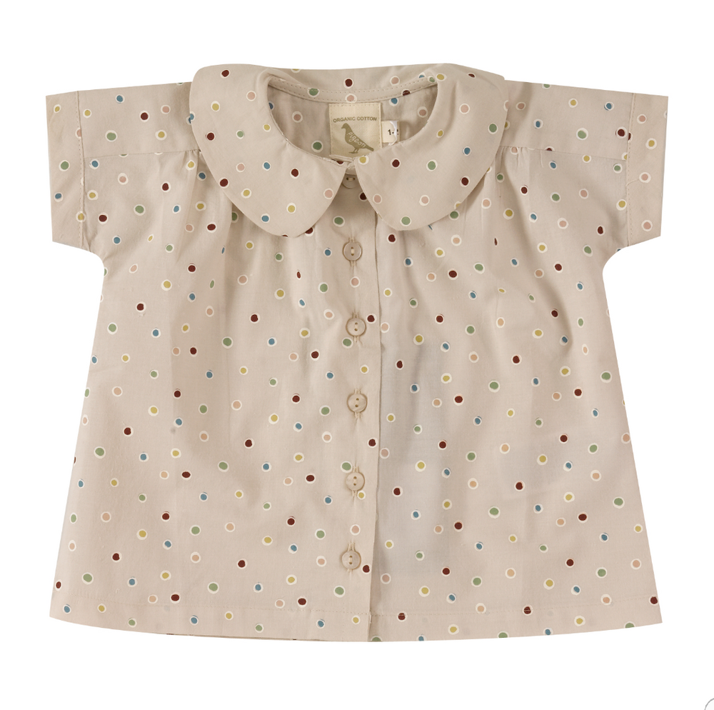 Blouse with Peter Pan Collar Spots on Taupe