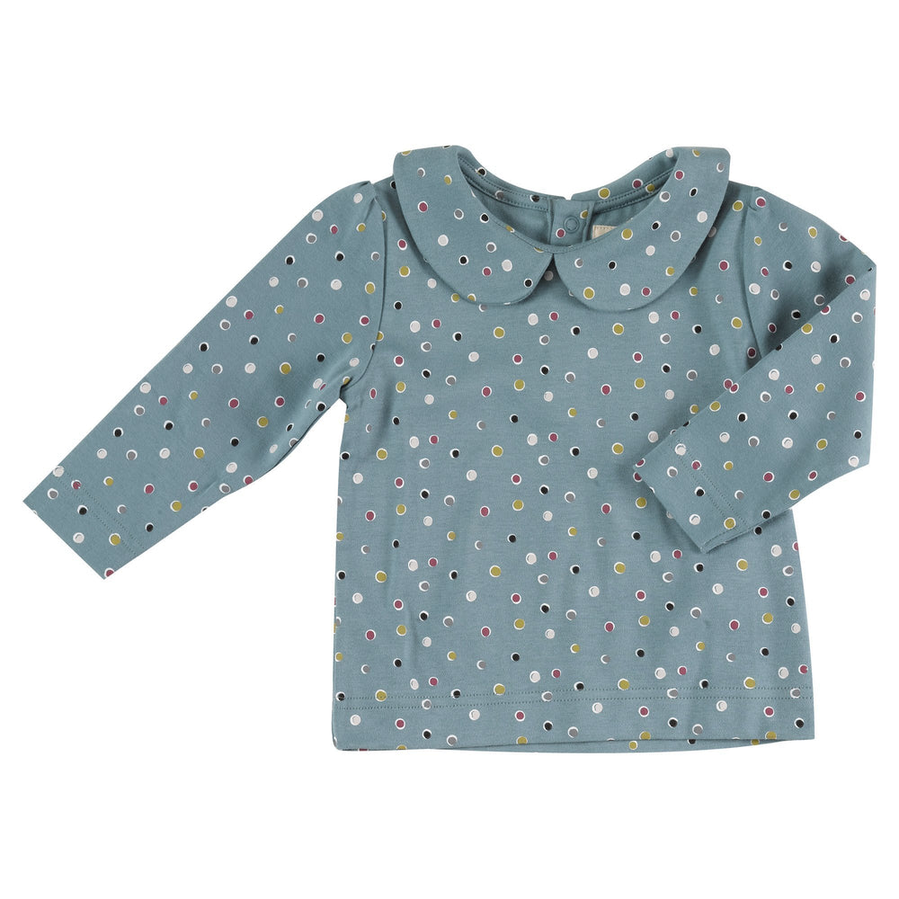 Blouse with Peter Pan Collar - Spots on Blue