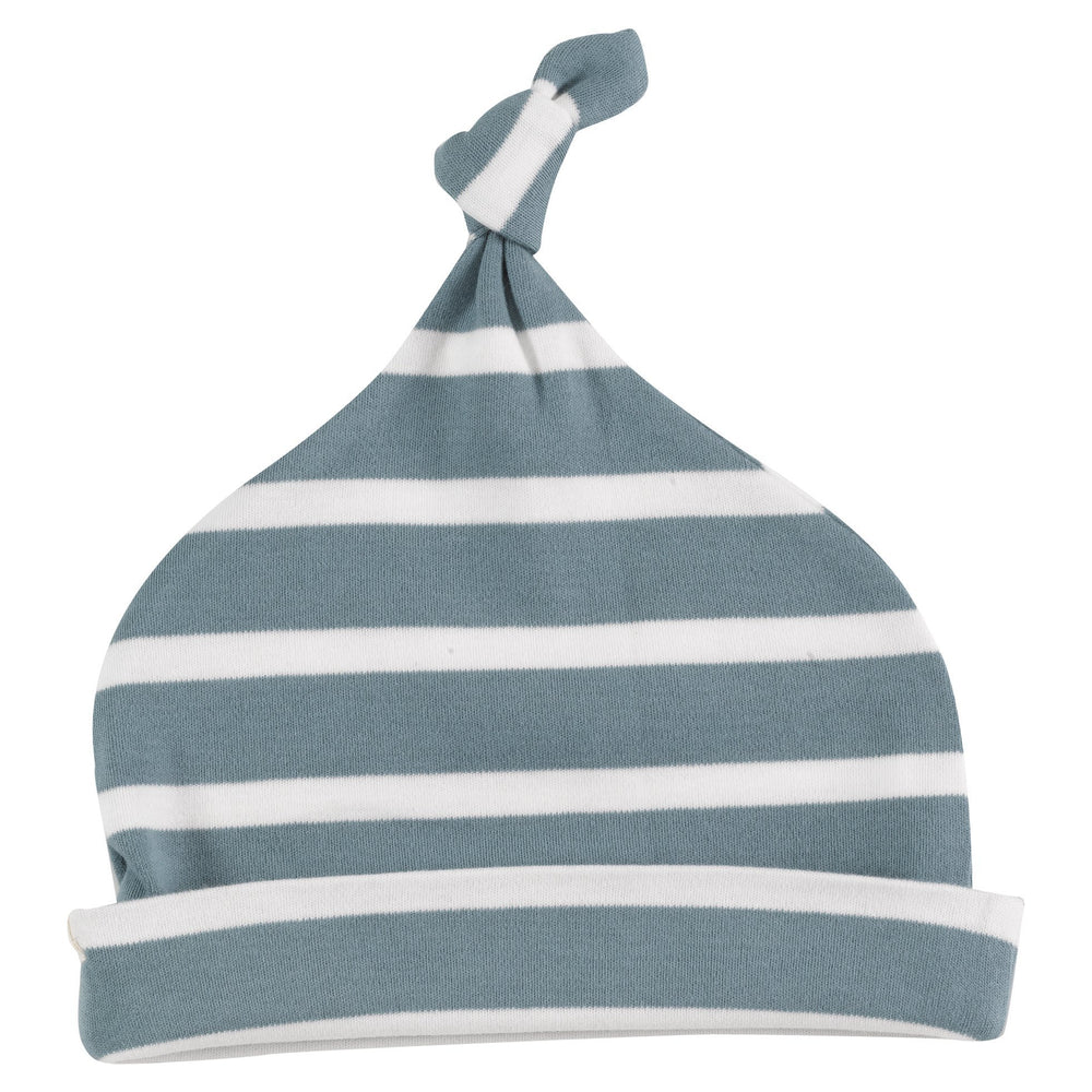 Knotted Hat - Smoke Blue & White