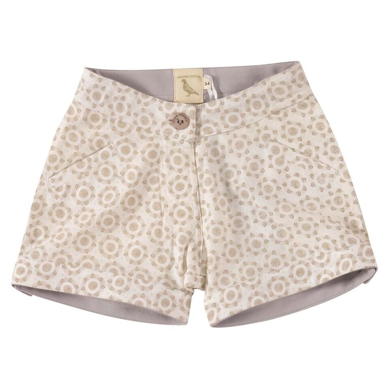 Printed Shorts - flowers Taupe