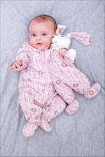 Safari Zip Babygrow - Pink