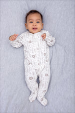 Safari Zip Babygrow - Cream