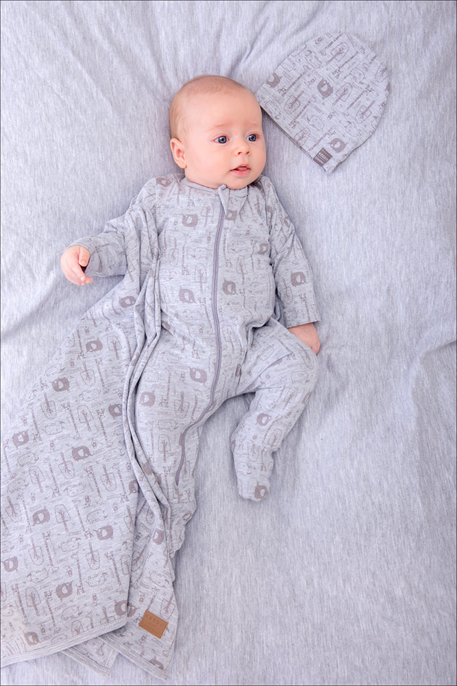 Safari Zip Babygrow - Grey