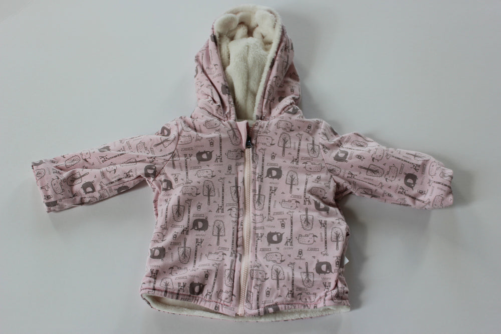 Safari Reversible Fluffy Jacket - Pink