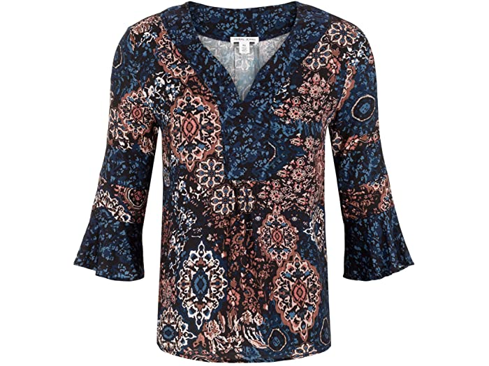 Printed Stretch Challis 3/4 Sleeve Blouse