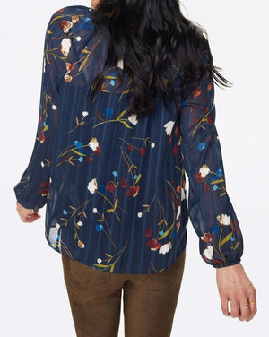 Navy Floral Peasant Blouse
