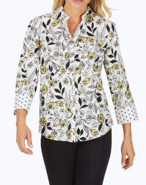 Mary Wrinkle-Free Floral Toile Shirt