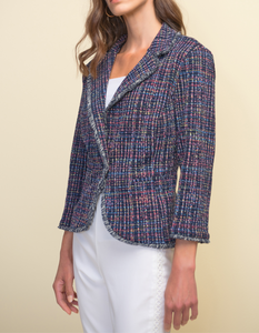 One Button Tweed Blazer