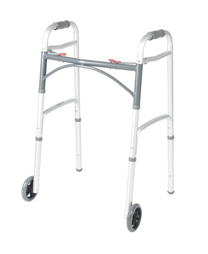 Two Button Folding Walker with 5-Inch Wheels