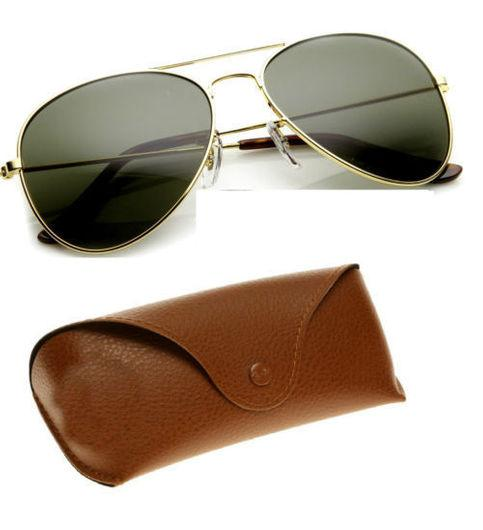 Sunglasses Aviator Glasses Goggles With Brown Leather Cover - Shopeleo