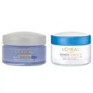 L'Oreal Paris White Perfect Day + Night Cream With Free Travel Pouch (50ml Each)