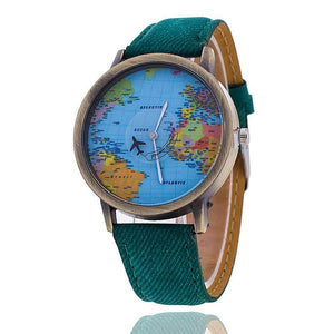 Fashion Global Travel By Plane Map Denim Fabric Band Watch - Shopeleo