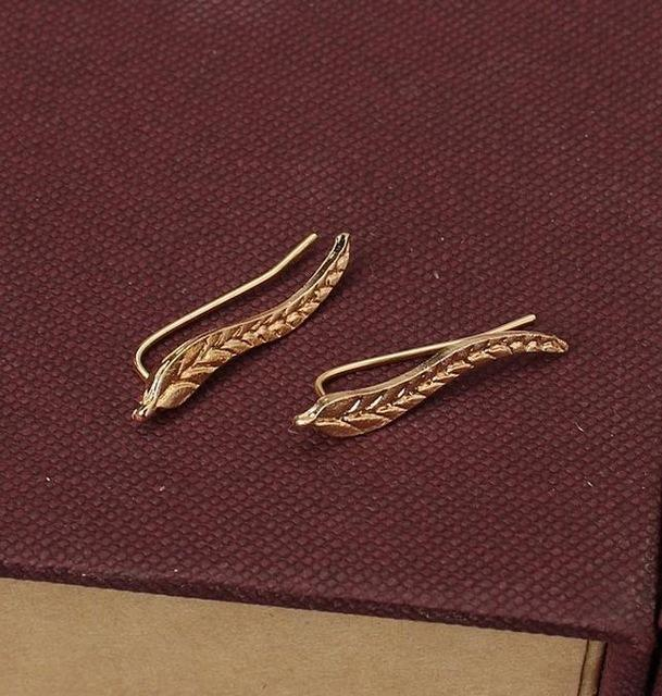 New Fashion Ear Sweep Wrap Silver Gold Ear Climber Ear Clip Cuffs Leafs Earrings - Shopeleo