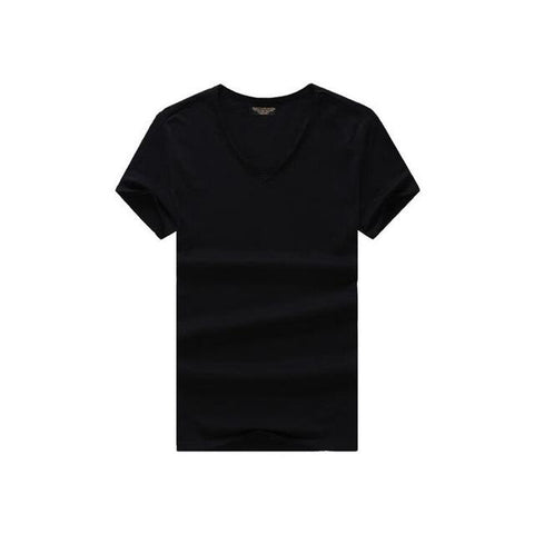 Image of T shirt Men's V-neck Slim Fit Pure Cotton T-shirt - Shopeleo