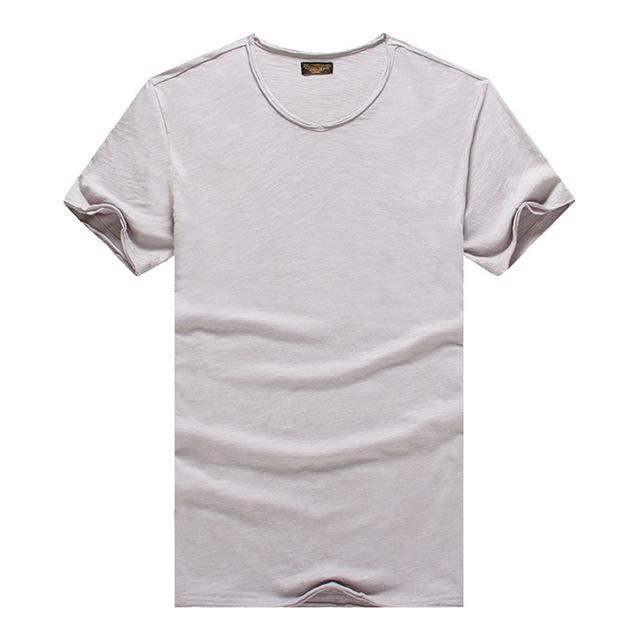 T shirt Men's V-neck Slim Fit Pure Cotton T-shirt - Shopeleo
