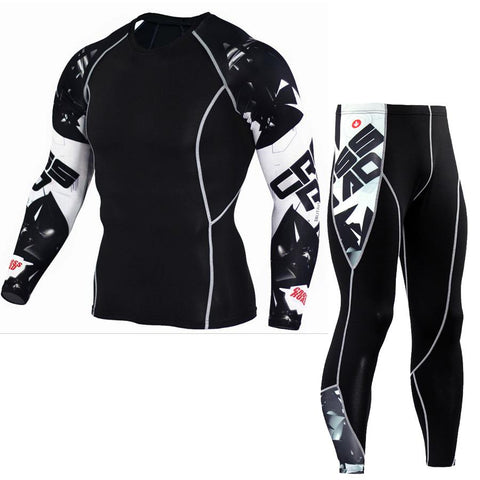 Image of 3D Printed MMA Crossfit Muscle TShirt & Leggings Set - Shopeleo
