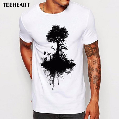 Image of Men's Wild Ink Tree And Crow T Shirt - Shopeleo