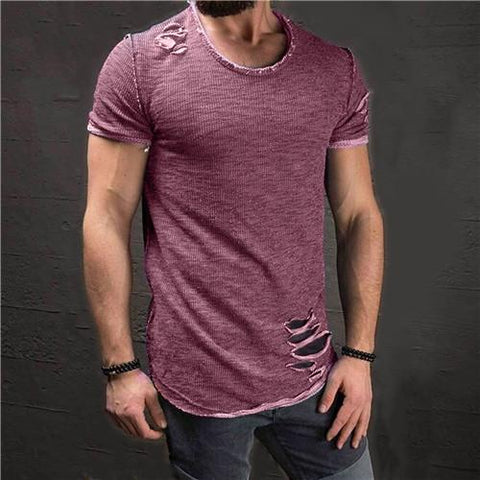 Image of Ripped Men Slim Fit Cotton O Neck Tee Shirt - Shopeleo
