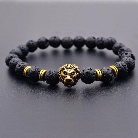 Antique Gold Color Buddha Leo Lion Head Bracelet - Shopeleo