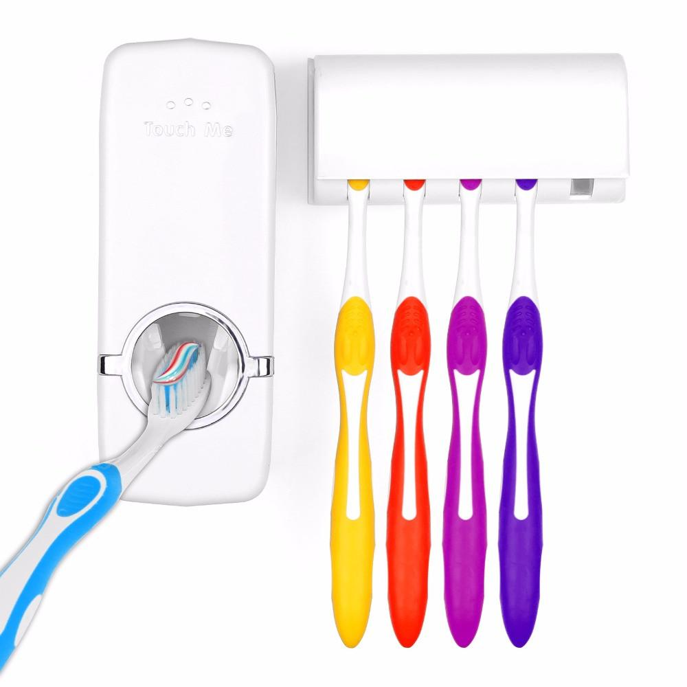 Automatic Toothpaste Dispenser 5 Toothbrush Holder Set - Shopeleo