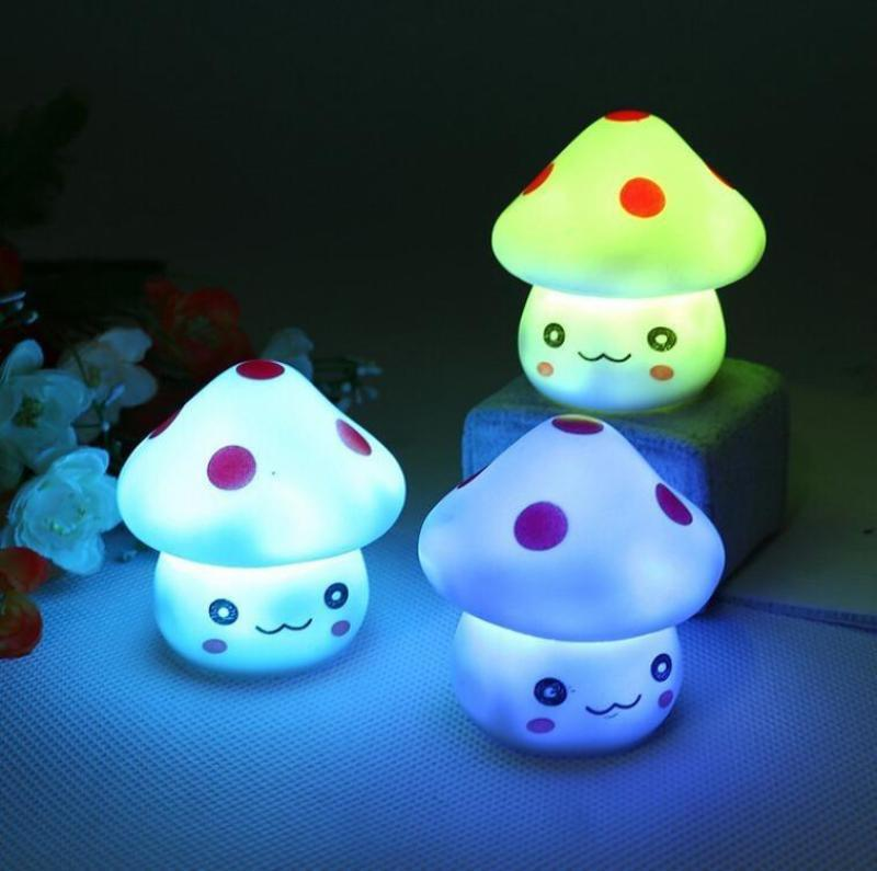 Colorful Nightlight Vinyl Mushroom LED Lamp Night Lights - Shopeleo