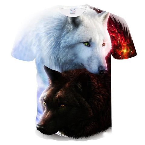 Image of Wolf 3D Print Cool T-shirt - Shopeleo