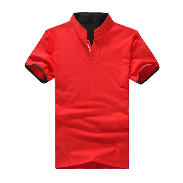 V-Neck Slim Fit Short Sleeve T Shirt - Shopeleo