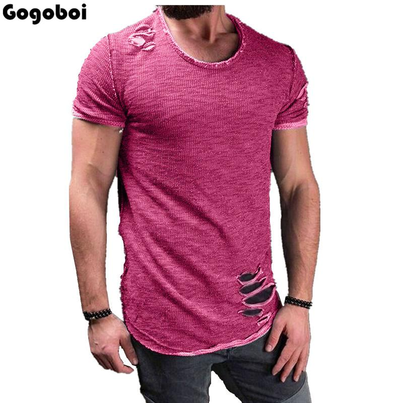 Ripped Men Slim Fit Cotton O Neck Tee Shirt - Shopeleo