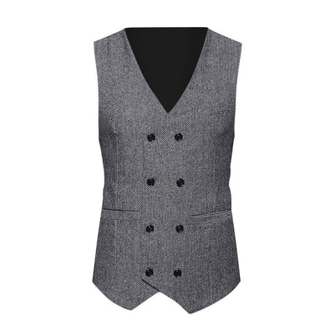 Image of Men Formal Tweed Check Double Breasted Waistcoat - Shopeleo