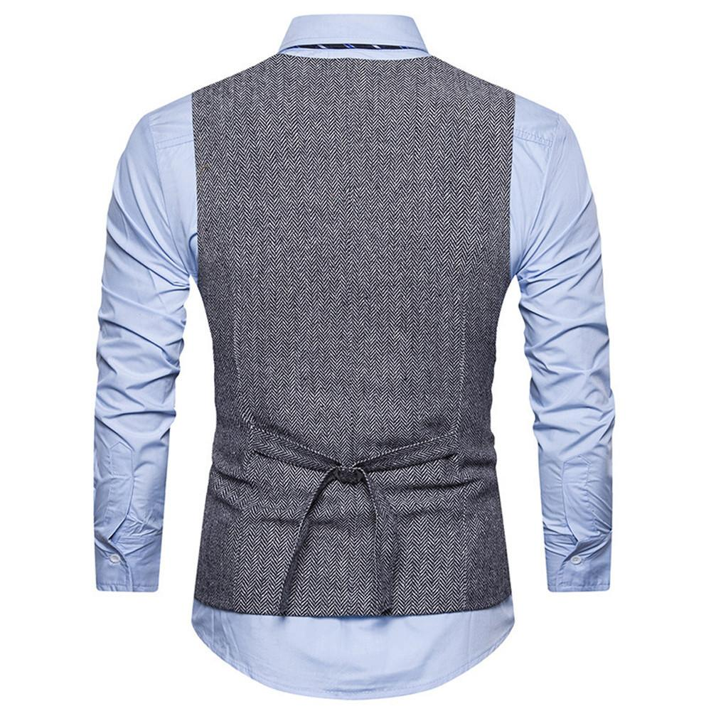 Men Formal Tweed Check Double Breasted Waistcoat - Shopeleo
