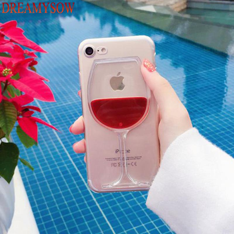 Hard Liquid Fluid Red Wine Glass Case For iphone 7 8 Plus X - Shopeleo