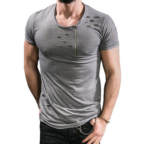 Image of Ripped Hole T-shirts Men Zipper Breathable Casual Tees - Shopeleo
