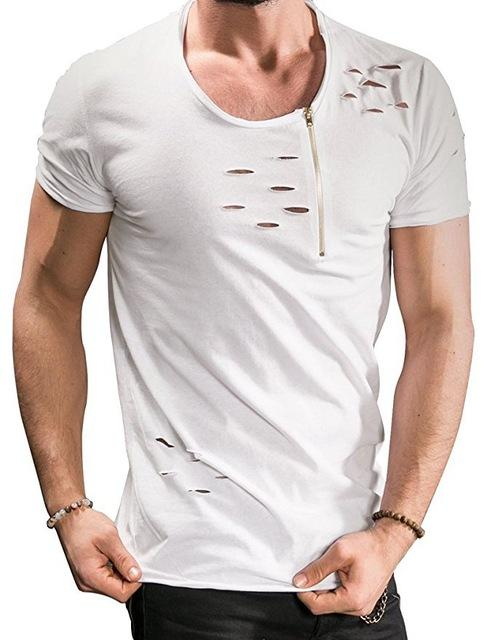 Ripped Hole T-shirts Men Zipper Breathable Casual Tees - Shopeleo
