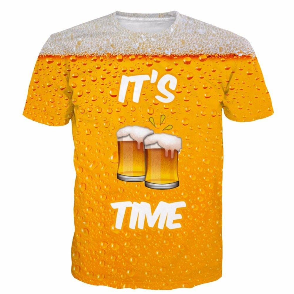 ONSEME It's Beer Time Funny Short Sleeve T Shirts - Shopeleo