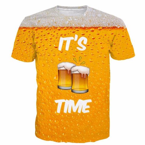 Image of ONSEME It's Beer Time Funny Short Sleeve T Shirts - Shopeleo