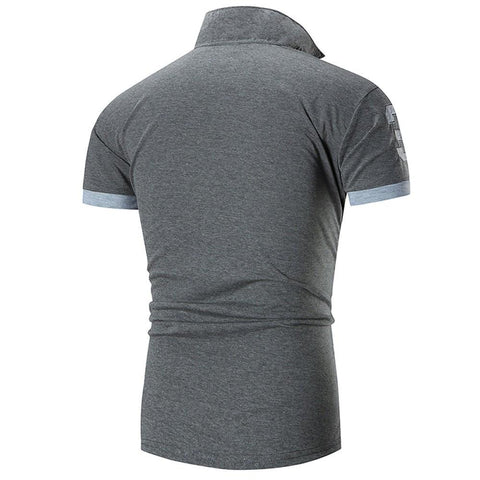 Image of Fashion Business Men's Casual Slim Short T Shirt - Shopeleo