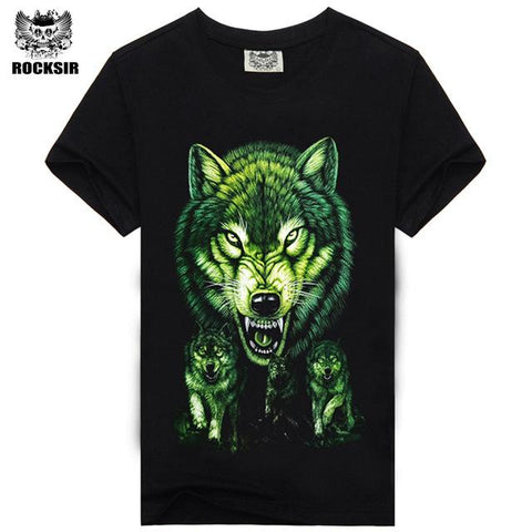 Image of Rocksir 3d wolf t shirt - Shopeleo