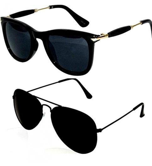 Original Medium Size Unisex Combo of Wayfarer And Aviators UV 400 Protected Mirrored And Polycarbonate Black Colour Sunglasses With Black Frame - Shopeleo