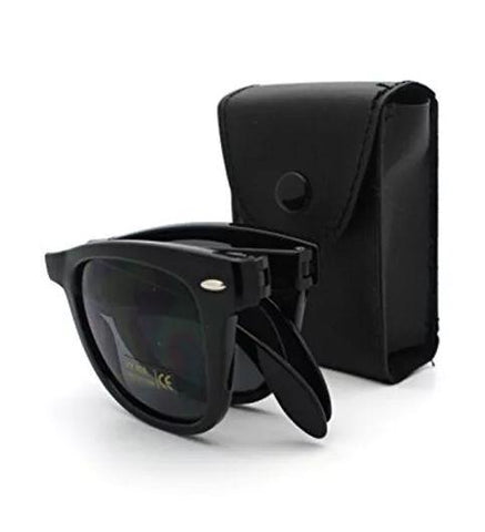 Original UV protected Folding Wayfarer Matt Finish Black Frame with black lens Unisex - Shopeleo