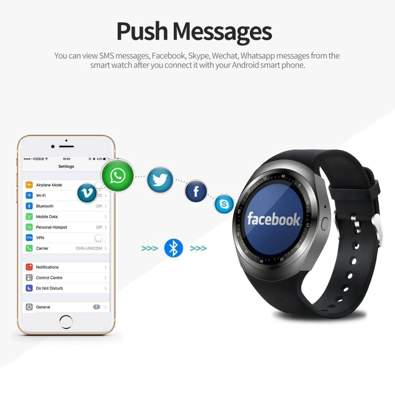 Y1 watch supports whatsapp and facebook