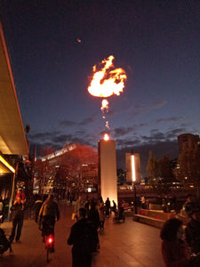 Fireballs in the night sky - South-bank, Melbourne