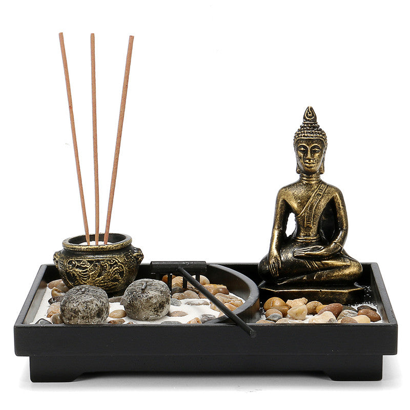 Traditional Zen Garden Kit Decor Meditation Sand Rocks Incense Candleholder Rake Feng Shui Home Ornament Decorations